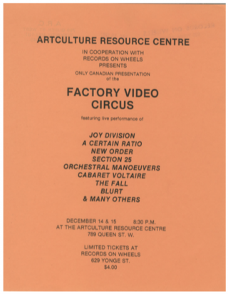 Factory Records. Factory Video Circus. [ticket for Canadian screening