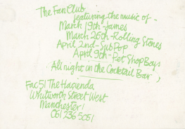 Beautiful 2000 and The Fan Club party handbill. FAC 51/The Haçienda Club