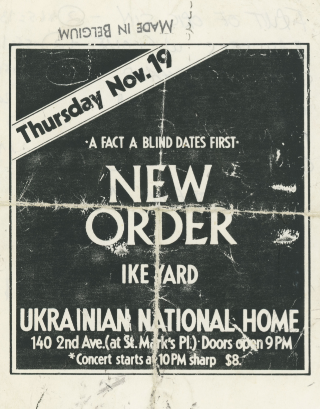 A Fact A First: New Order Ike Yard Handbill. Michael Shamberg, Stuart Argabright