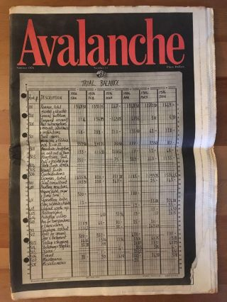 Avalanche, no. 13, Summer 1976. ed Liza Bear