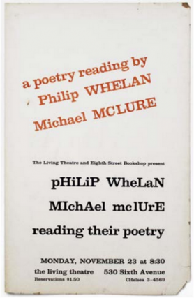Poetry Reading by Philip Whelan and Michael Mclure [sic
