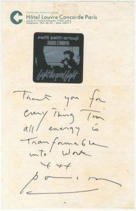 Patti Smith holograph note. Patti Smith