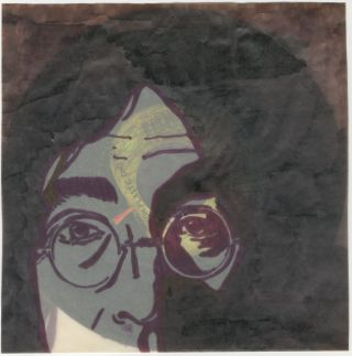 """[John Lennon Fan Art from Mexico] Hand-Illustrated Record Sleeve and Imagine 7"""" & Printed Portrait"""