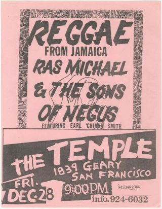 Reggae from Jamaica: Ras Michael & the Sons of Negus at The Temple. Ras Michael, the Sons of Negus