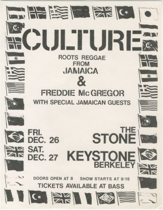 Culture and Freddie McGregor at The Stone and Keystone Berkeley. Culture, Freddie McGregor