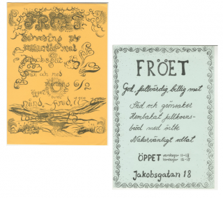 Trad Gras Stenar] Fröet Flyers [First Vegetarian Restaurant in Stockholm