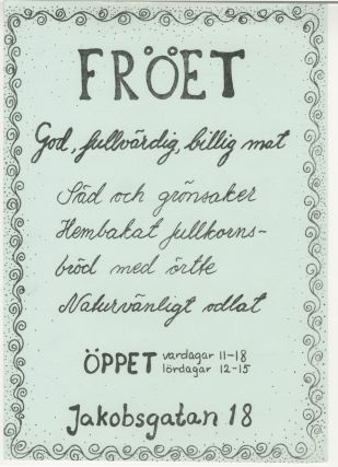 [Trad Gras Stenar] Fröet Flyers [First Vegetarian Restaurant in Stockholm]