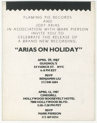 Arias on Holiday Record Release Party Handbill