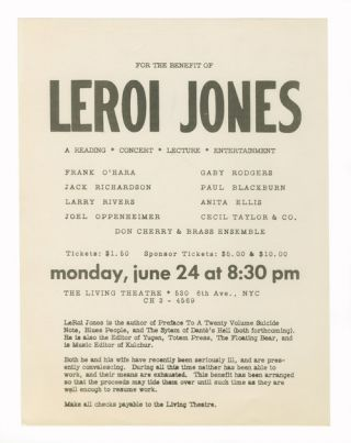 Benefit for LeRoi Jones. The Living Theatre
