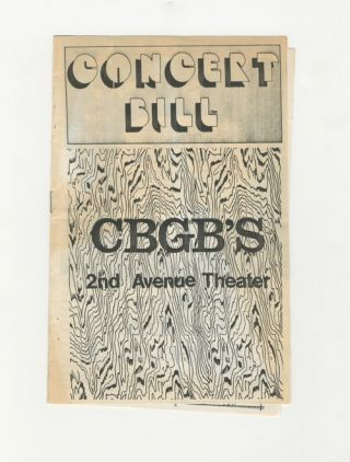 CBGB's concert bill - Patti Smith…. Concert Bill.