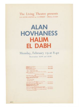 Concerts of Alan Hovhaness and Halim el Dabh. Living Theatre